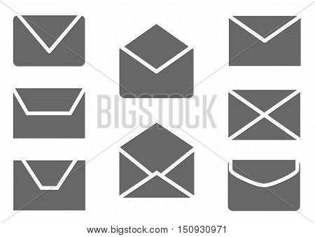 Mail, message and envelope web icons set. Vector illustration