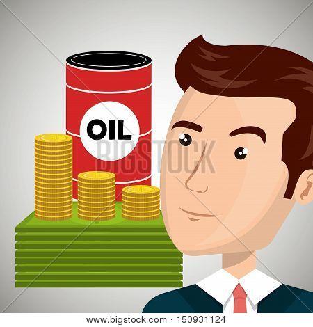 oil can with money coins and bills and avatar businessman. petroleum industry price design. vector illustration