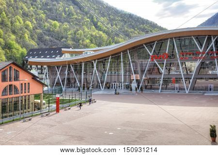 SOCHI, KRASNAYA POLYANA, RUSSIA - April 29.2015: Modern railway station Rosa Khutor in the mountain cluster of Olympic objects urban-type settlement Krasnaya Polyana
