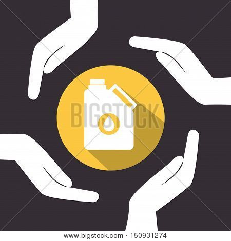 human hands with oil gallon icon over yellow circle. petroleum industry design. vector illustration