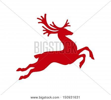 Red reindeer isolated on white background. Vector illustration. Merry Christmas symbol