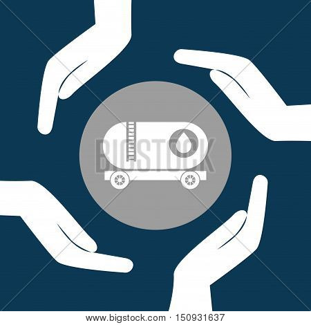 human hands with tank truck icon over gray circle. petroleum industry design. vector illustration