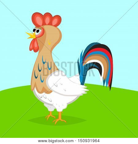 Rooster cute crest drawing chicken vector. Brown leghorn rooster bird design animal. Multicolored rooster farm chinese bird. Colored rooster leghorn cockerel year beautiful decoration.