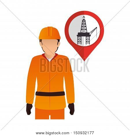 avatar industrial worker with safety equipment and pin with oil rig tower  icon inside. vector illustration