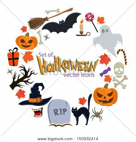 Round frame with Halloween icons. Template for packaging cards posters menu. Vector stock illustration