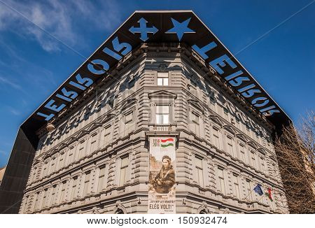 BUDAPEST HUNGARY - FEBRUARY 22 2016: House of Terror or Terror Haza is a museum in Budapest Hungary.
