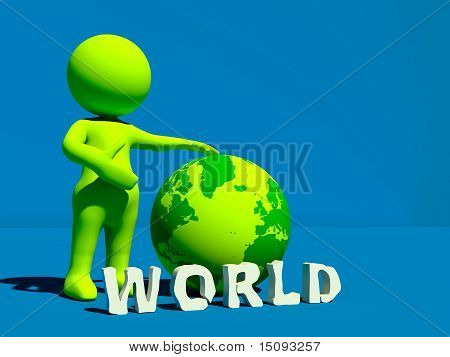 3D Character With Earth