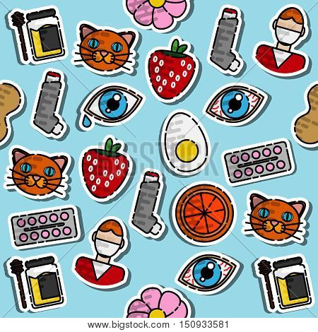 Colored Allergy icon pattern. Vector illustration EPS 10