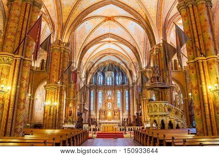 Interior Of The Matthias Church Is A Roman Catholic Church Located In Budapest