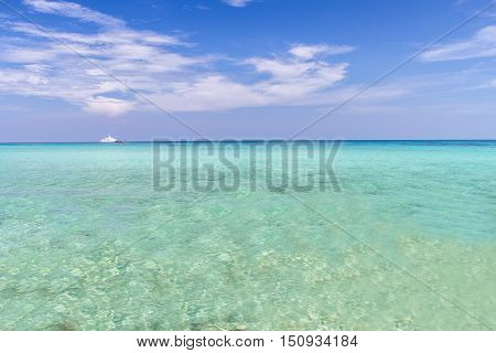 Blue sky and clouds clear with blue sea andaman background VacationTravel Koh RokThailand