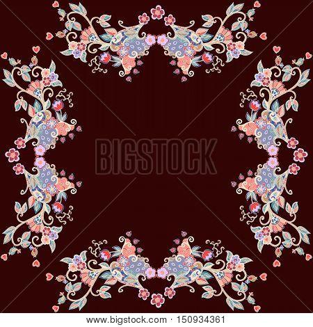 Decorative floral ornament. Beautiful frame. Bandana print. Vector illustration.