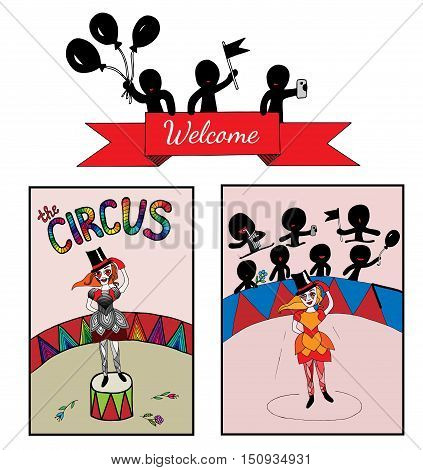 Theme circus with a girl on the stage and audience. Art element for adult coloring book page design child magazine banner template.