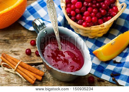 traditional English cranberry sauce. style rustic. selective focus