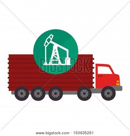 red cargo truck vehicle with oil rig tower icon over green circle. vector illutration