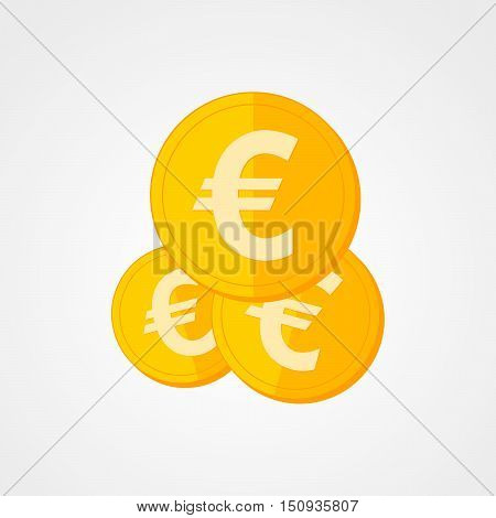 Coin icon in flat design. Gold euro symbol. Income concept. Cash euro coin - vector illustration.