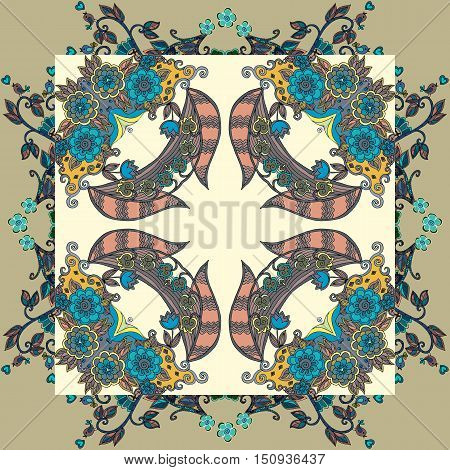 Decorative ornament with flowers. Lovely tablecloth or napkin. Vector illustration.