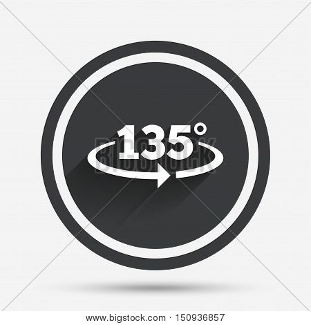 Angle 135 degrees sign icon. Geometry math symbol. Circle flat button with shadow and border. Vector