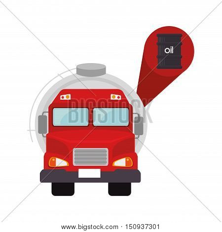 red tank truck vehicle with oil barrel icon. vector illustration