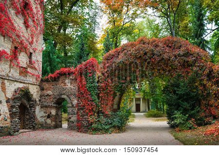 Arkadia Poland - September 30 2016: stone arch in the sentimental and romantic Arkadia park near Nieborow Central Poland Mazovia. Garden in the English style