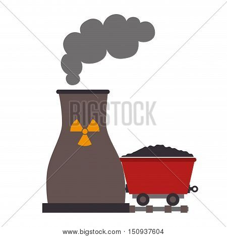 nuclear radioactive plant and wagon with coal. vector illustration