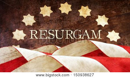 Resurgam. The Latin for I shall rise again. Usa Flag.