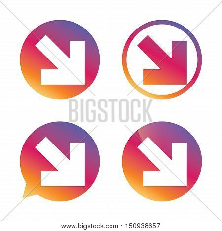 Arrow sign icon. Next button. Navigation symbol. Gradient buttons with flat icon. Speech bubble sign. Vector