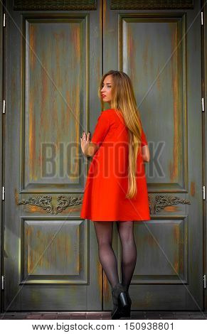 Fashionable Young Girl On A Background Of Vintage Door In  Red Dress With Long Hair