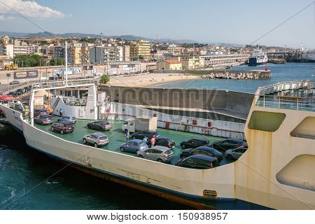 Villa San Giovanni, Province, Reggio di Calabria, Italy July 24, 2016: Port - Villa San Giovanni Ferry from which drive away the vehicle that sailed from the port of Messina