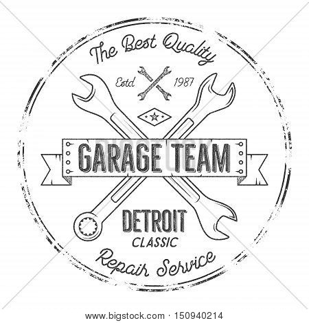 Garage service vintage tee design graphics, Detroit classic, repair service typography print. Black T-shirt stamp, teeshirt graphic, premium retro artwork. Use as emblem, logo on web projects. Vector.
