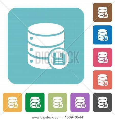 Flat database save icons on rounded square color backgrounds.