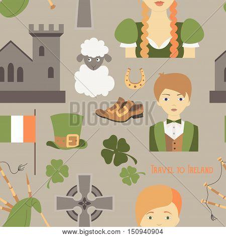 Travel to Ireland pattern. Vector illustration Sketchy Irish traditional food icons Republic of Ireland elements Flag Map Celtic Cross Knot Castle Leprechaun Shamrock Harp Pot of gold Travel icons.