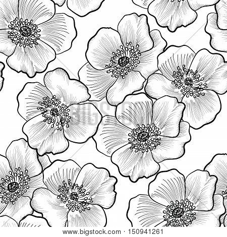 Floral engraving seamless pattern. Flower sketch background. Flourish etching black and white texture with flowers daisy.
