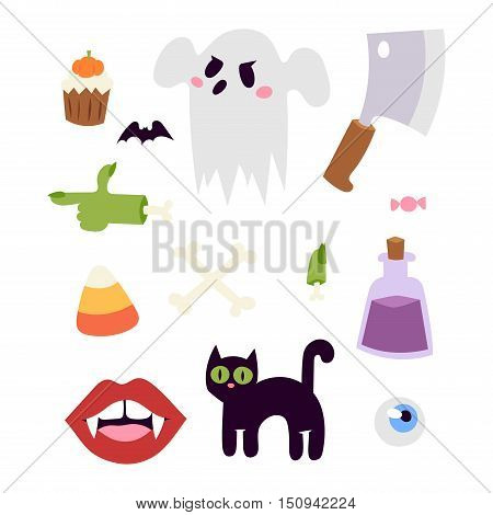 Halloween symbols vector collection autumn fear creepy traditional sign. Halloween holiday bat horror design set. Celebration ghost spooky october halloween symbols.