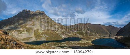 Mount Zagedan and Urup lakes from which the river originates Left Urup. Caucasus mountains. Karachay-Cherkessia. Russia.