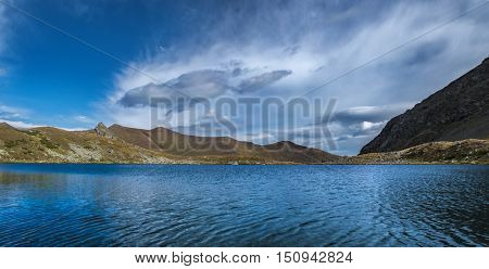 Landscape with mountain lake. Urup lakes from which the river originates Left Urup. Caucasus mountains. Karachay-Cherkessia. Russia.