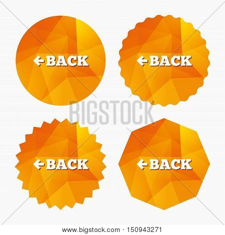 Arrow sign icon. Back button. Navigation symbol. Triangular low poly buttons with flat icon. Vector