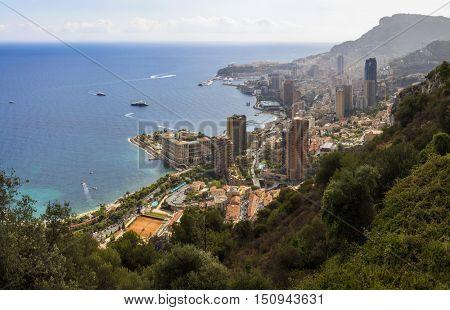 View of Monte Carlo, Monaco on the Mediterranean Cote dâ??Azur