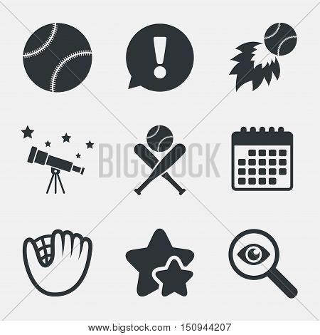 Baseball sport icons. Ball with glove and two crosswise bats signs. Fireball symbol. Attention, investigate and stars icons. Telescope and calendar signs. Vector