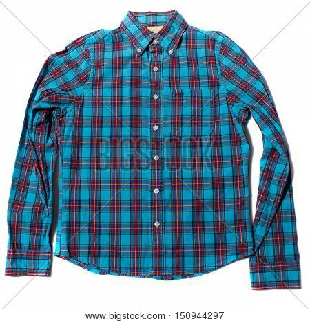 Red and blue checkered long sleeved shirt