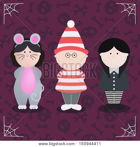 Character of Halloween in monster costume vector illustration. Funny mouse, Wednesday Addams and boy Waldo. Cute cartoon halloween characters icon set.