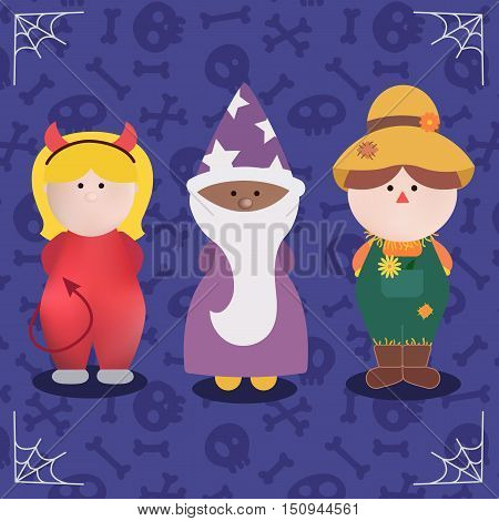 Halloween Character set of monster costume vector illustration. Red imp, wizard and Scarecrow Halloween Party costume. Flat design.