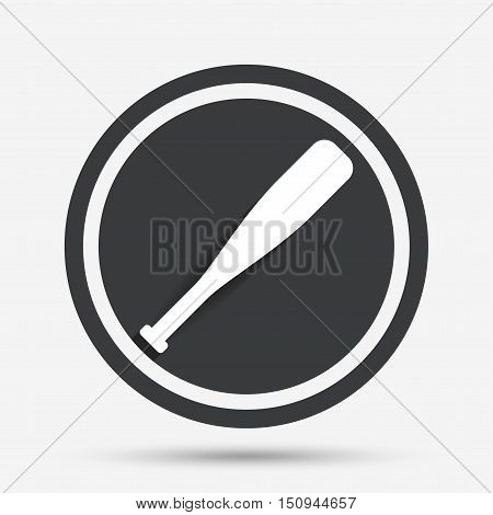 Baseball bat sign icon. Sport hit equipment symbol. Circle flat button with shadow and border. Vector