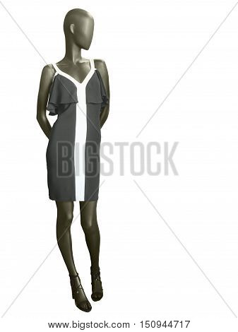 Full length female mannequin dressed in black summer dress isolated on white background. No brand names or copyright objects.