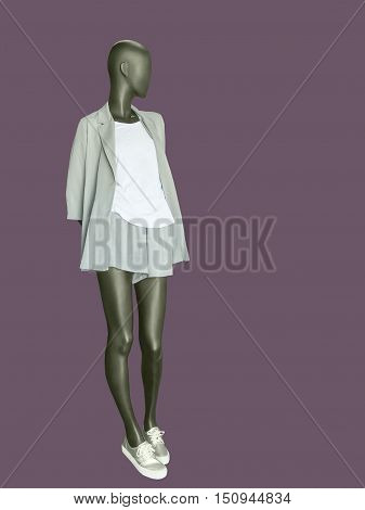 Full length female mannequin dressed in summer suit against violet background. No brand names or copyright objects.