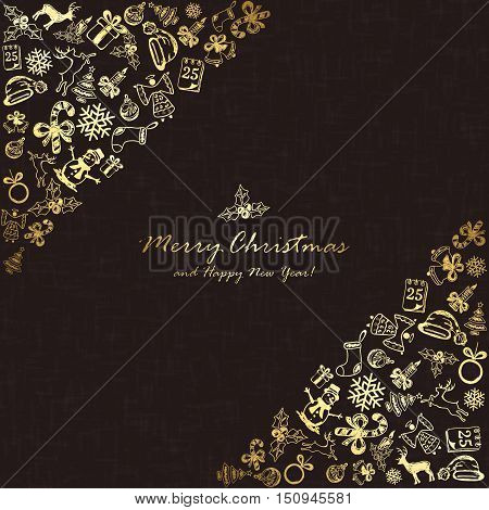 Golden Christmas elements in corner on black background, holiday decorations with Christmas tree, balls, bells, angel, Santa hat, sock, gift box, holly berries, candle, snowflakes, snowman, deer and inscriptions Merry Christmas and Happy New Year, illustr