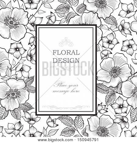 Floral frame with summer flowers. Floral bouquet pattern. Vintage Greeting Card with flowers. Etching flourish border. Floral engraving background.