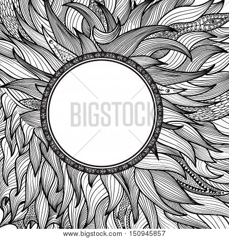 Abstract ornament wild background. Animal fur hair pattern. Round shape stylized border. Ornamental background with frame in ethnic floral doodle style. Paisley doodles design.
