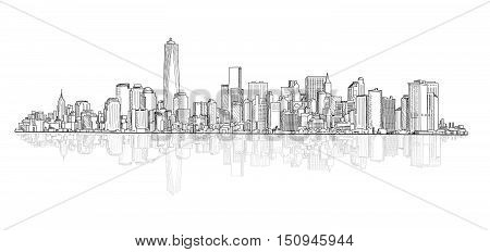 City panoramic skyline view. City scene architectural buildings vector sketch. Urban vector cityscape.
