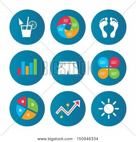 Business pie chart. Growth curve. Presentation buttons. Beach holidays icons. Cocktail, human footprints and swimming trunks signs. Summer sun symbol. Data analysis. Vector