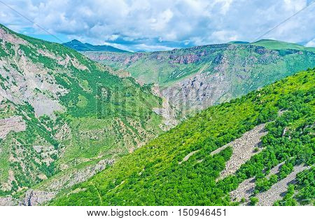 The best way to overlook large and wide Vorotan river Canyon is to take a ride on the Wings of Tatev cableway Syunik Province Armenia.